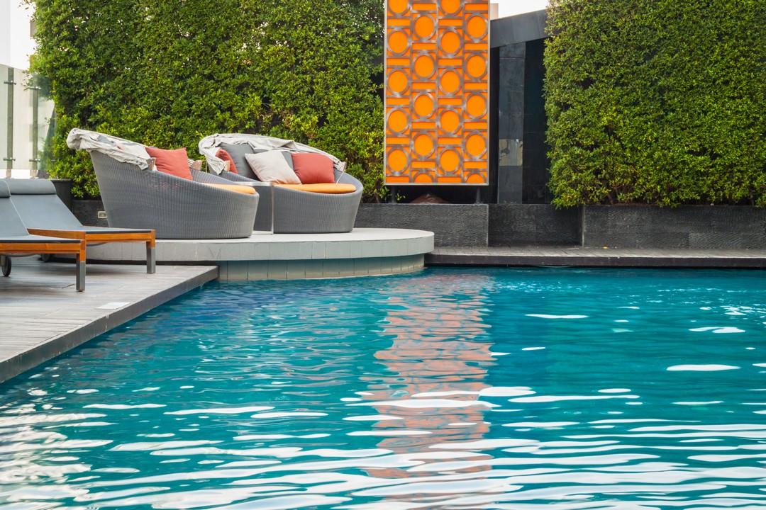 mobilier de terrasse et et plantes autour d'une piscine