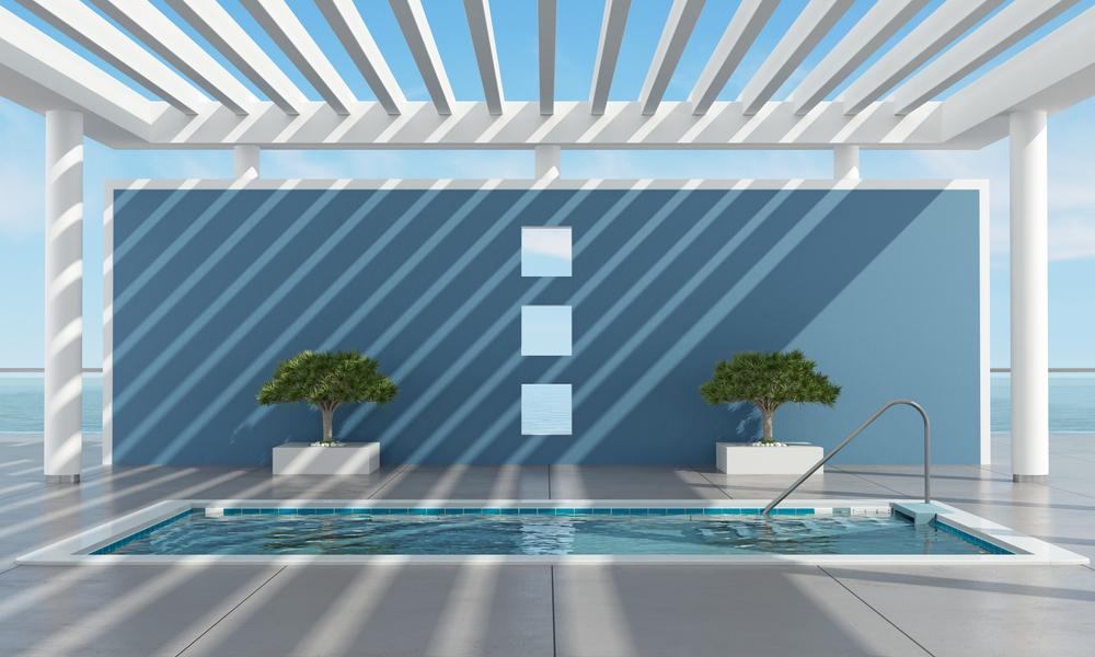 mur de couleur bleu gris près d'une piscine style contemporain