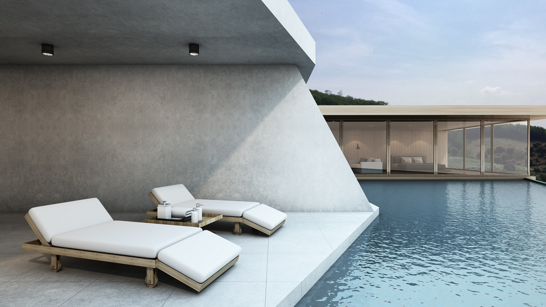 plage de piscine en béton